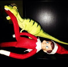 Bob the Elf attacked by a Tyrannosaurus Rex!