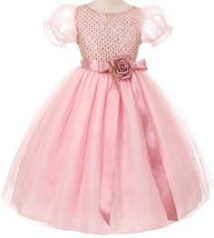 Big Girls Glitter Floral Adorned Bridesmaid Flowers Girls Dresses Blush 12 K63K87 *** Check out the image by visiting the link.