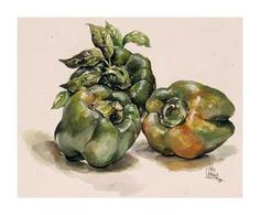 Bell pepper print by Julia Crainer of Texas.  One of my former watercolor teachers.