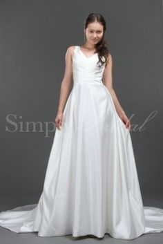 Wedding Dress by SimplyBridal. Put on this A-line dress, and ivory satin will drape your body and cascade to the floor. The luxurious fabric will absolutely delight you. The V-Neck neckline and shoulder straps give way to a fitted bodice of pleated fabric. The back is adorned with one . USD $251.99
