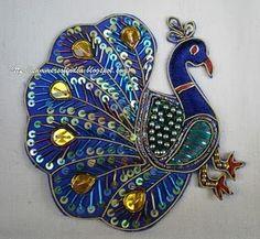 Peacock in Zardosi Work