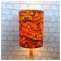 Extra Tall Orange Lampshade Vintage Jonelle Water Music Fabric