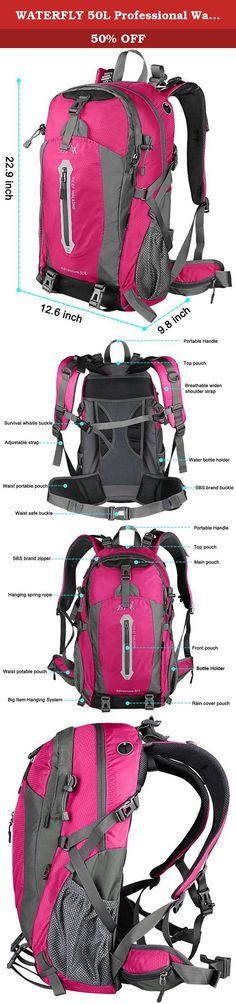 WATERFLY 50L Professional Waterproof Outdoor Sports Climbing Backpack Bag Cover Mountaineering Backpack Shoulder Bag Camping Hiking Backpack Rucksack Daypack with Waterproof Cover For Biking Cycling Traveling Camping Hiking Climbing (Pink). WATERFLY Color Your Life Five Years Warranty! Our Guarantee: If you're not 100% satisfy with your purchase of WATERFLY climbing backpack within 30 days, let us know and we'll refund you full with no excuse! 1.WATERFLY Climbing Backpack made of best…
