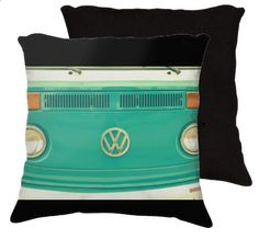 Groovy  Retro classic hipster hippie VW bus teal throw by RDelean, $30.00