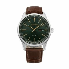 Seiko Men's Solar Brown Leather Watch Size: One Size Fits All Christmas Gifts For Boyfriend, Gifts For Your Boyfriend, Gifts For Wife, Brown Leather Watch, Seiko Men, Brown Band, Online Watch Store, Shopping Hacks, Crystal Jewelry