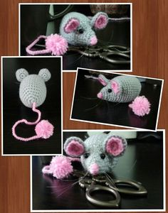 A catnip-stuffed crochet toy mouse I made on a whim for my sister's cat. The eyes are secured with strong nylon thread.
