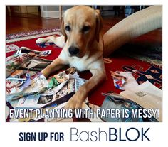 We agree with the puppy, planning with paper is super messy! Ditch the file folders, multiple emails and missed phone calls and plan your next bash with BashBLOK. With BashBLOK, you can collaborate, track budgets,set tasks and more! Everything you need to make your next bash a smash is in one  Read the rest of the post at http://www.blog.bashblok.com/planning-and-budgeting/980  #Advice, #Bash, #BashBLOK, #EventPlanning, #Party, #PartyPlanning, #Puppy, #Summer, #TipsAndTri