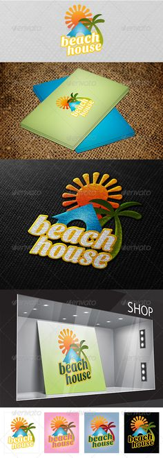 Beach House  Logo Design Template Vector #logotype Download it here: http://graphicriver.net/item/beach-house-logo-/2831148?s_rank=1151?ref=nexion