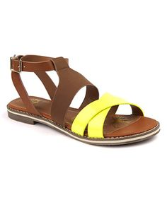 Another great find on #zulily! Yellow Linden Ankle-Wrap Sandal - Women #zulilyfinds
