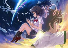 Your Name- Mitsuha and Taki and the falling comet Kimi No Na Wa, Mitsuha And Taki, Manga Anime, Anime Art, Otaku, The Garden Of Words, Your Name Anime, Makoto, Name Wallpaper