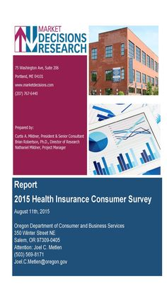 Report 2015 health insurance consumer survey, by the Oregon Department of Consumer and Business Services