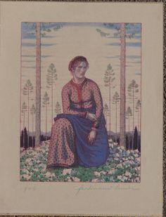 Ferdinand Andri, Mädchen im Lärchenwald, Farblithographie, Ferdinand, Art Auction, Ebay, Painting, Art, Painting Art, Paintings, Paint, Draw