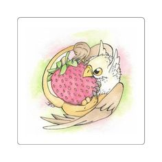 Cute watercolor sticker of a Griffin noming away at a large strawberry.