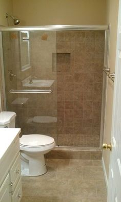 another bath remodel took out the bathtub and installed a stand up shower, bathroom ideas, home improvement, tiling, After