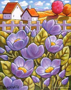 Floral country garden landscape art. This piece is an original 11x14 acrylic on canvas artwork designed to brighten your home wall decor. A view of purple blooms contained by a white picket fence in a cottage garden landscape is by artist Cathy Horvath Buchanan. Bring the lovely