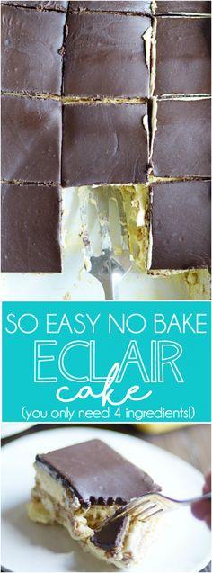 Cómo hacer que todos los favoritos de verano Eclair Cake.  No hornear, listo en cuestión de minutos, y sólo necesitará 4 ingredientes fáciles.