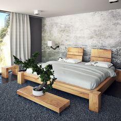 Holzbalken Bett aus Eiche konfigurierbares Balkenbett