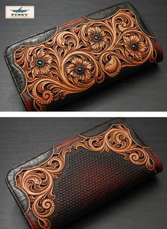chaos-accessory: It is riders wallet / genuine leather / long wallet flower four フィリグリー Leather Cigar Case, Leather Art, Custom Leather, Leather Design, Leather Belts, Leather Tooling, Leather Jewelry, Leather Purses, Leather Engraving