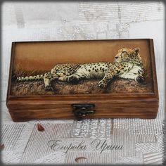"""Купить Шкатулка купюрница""""Леопард"""" - оранжевый, шкатулка, шкатулка декупаж, шкатулка ручной работы, шкатулка деревянная"""