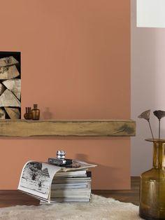 terracotta verf kleur - Google zoeken Copper Interior, Home Interior, Interior Design Living Room, Living Room Decor, Room Paint Colors, Paint Colors For Living Room, Wall Colors, Peach Rooms, Peach Walls