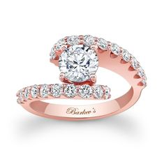 Rose Gold Engagement Ring - 7737LPW - This unique diamond engagement ring features a rose gold split shank.  A prong set round diamond center is cradled in the open center with shared prong set diamonds gracing the shoulders for a dramatic effect that is nothing short of spectacular.   Also available in 18k and Platinum.
