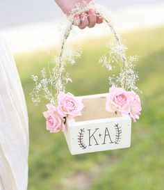 Personalized Rustic Chic Flower Girl Basket Paper Roses Baby's Breath Barn Wedding NEW 2014 Design by Morgann Hill Designs