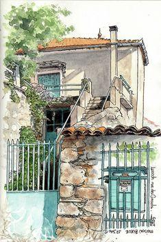 ... maison bleue ... Le Rocher by Cat Gout, via Flickr