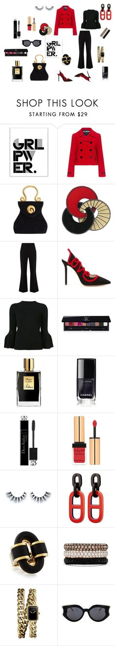 """Power look: red and black"" by micettes on Polyvore featuring moda, Stupell, McQ by Alexander McQueen, Edouard Rambaud, Roland Mouret, Charlotte Olympia, Carolina Herrera, Yves Saint Laurent, Kilian e Barneys New York"