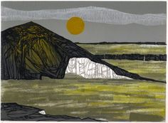 'Bitter Afternoon' by British artist  printmaker Laura Boswell. Linocut, 250 x 180 mm. via the artist's site