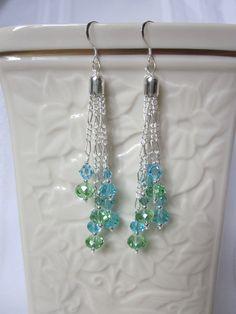 Falling Waters -Dangle Earrings-- Aqua Blue and Pale Green Swarovski Crystals.