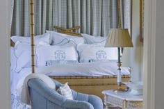 Master bedroom by Cathy Kincaid Interiors. Over the top bamboo four poster + gorgeous blue and white Leontine Linens + gingham bedskirt and gingham canopy behind the headboard = huge win Home Bedroom, Bedroom Decor, Light Bedroom, Master Bedroom, Glam Bedroom, Bedroom Ideas, Design Bedroom, Leontine Linens, Bed Linens