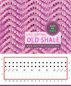 Old Shale Variation Easy To Knit Lace Knitting, Knitting Stitches, Knitting Patterns, Eyelet Lace, Knitting Projects, Chevron, Crochet Hats, Tips, Easy