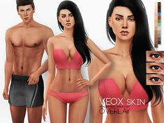 Skin overlay, adapts to base Maxis skintones, for male and female sims in 6 variations. 3 eyelid versions, 2 transparency levels each. Found in TSR Category 'Sims 4 Skintones'