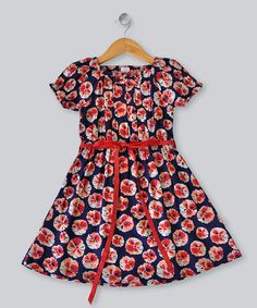 Navy Poppy Short-Sleeve Dress - Toddler & Girls