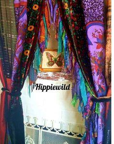 Patchwork Curtains, Bohemian Curtains, Hippie Bohemian, Bohemian Decor, Bohemian Style, Canopy Bed Curtains, Bohemian Christmas, Burlap Garland, Hanging Photos