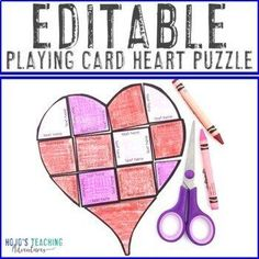 EDITABLE Printing Playing Cards Heart Shape Puzzle Activity | 1st, 2nd, 3rd, 4th, 5th, 6th, 7th, 8th grade - first, second, third, fourth, fifth, sixth, seventh, eighth graders - elementary 4th Grade Classroom, Middle School Classroom, Special Education Classroom, School Fun, Reading Recovery, Ell Students, Halloween Math, Classroom Decor Themes, Shape Puzzles