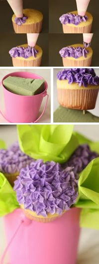 How to make a cupcake bouquet from the star-shaped icing tips and pastry bag to the flat foam, to using 2 toothpicks per cupcake. (by Half Baked) Hydrangea Cupcakes, Cupcakes Flores, Love Cupcakes, Cupcake Cookies, Cupcake Bouquets, Frosting Recipes, Cupcake Recipes, Icing Tips, Cake Icing