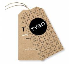 Geboortelabel kraft geometrisch patroon (m) Tygo voor