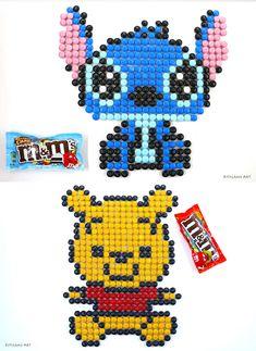 Pixel art disney, pixel art disney characters, m&m pixel art of Disney's Stitch and Winnie the pooh. Food Art Painting, Pixel Art Templates, Pixel Art Games, Speed Art, Candy Art, Crayon Art, Marker Art, Disney Fan Art, Art Challenge