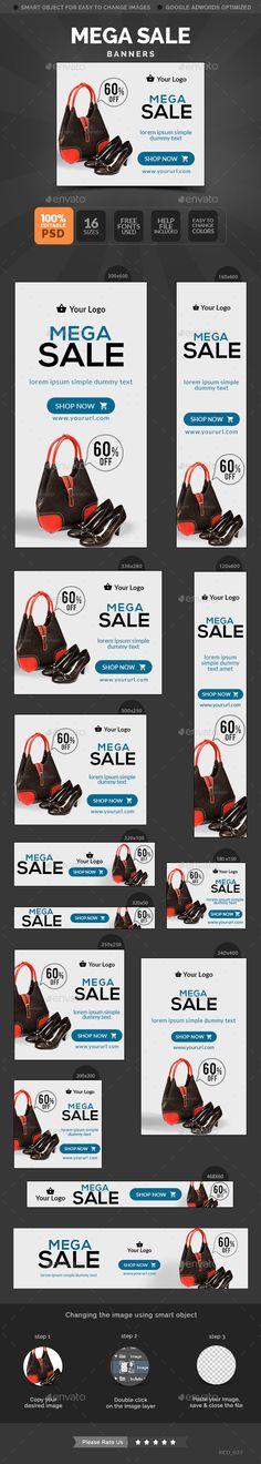 Mega Sale Banners Template #design #webbanners Download: http://graphicriver.net/item/mega-sale-banners/10799483?ref=ksioks
