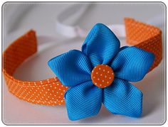"""Ribbon Flower Tutorial, with fabric covered button center (7/8"""" ribbon)"""