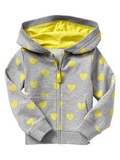 BabyGap-Neon Heart Hoodie-Yellow Print-$29.95