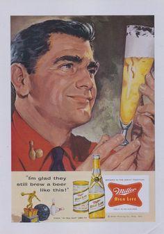 1957 Miller High Life Beer Ad Retro Man Bowling by AdVintageCom