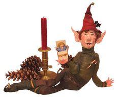 SOLD/ Christmas Elf Paper Mache Sculpture Art by tylersworkshop