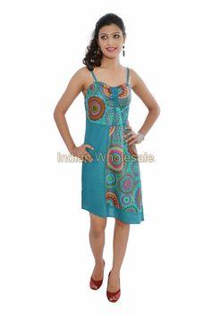 Women Cotton Printed One Piece Girl's Dress Evening Summer Tunic Top IW15001SBL #Handmade #Maxi #Casual