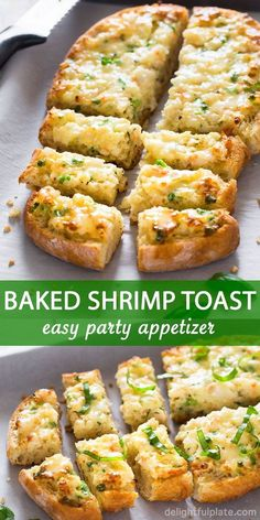 This baked shrimp toast is a quick, easy and tasty party appetizer. It features rich and creamy shrimp mixture on top of crusty bread. Give it a try if you need party food for a crowd. appetizers for a crowd Easy Baked Shrimp Toast Appetizers For A Crowd, Quick And Easy Appetizers, Food For A Crowd, Best Appetizers, Seafood Appetizers, Seafood Party, Quick Party Food, Quick Snacks, Quick Recipes