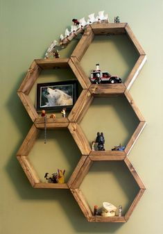 DIY Honeycomb Hexagon Shelves -                                                                                                                                                                                 More