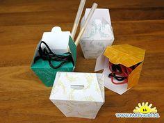 Noodles bakje met dropveters - noodles take away box papercraft