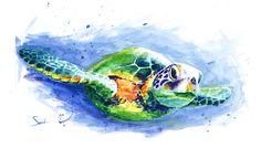 SEA TURTLE ART original watercolor animal painting by SignedSweet