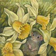 "Art by Lynn Bonnette: ""Daffodil Mouse Dream"""
